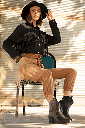Belı fırfırlı ceplı pantolon-P-015295