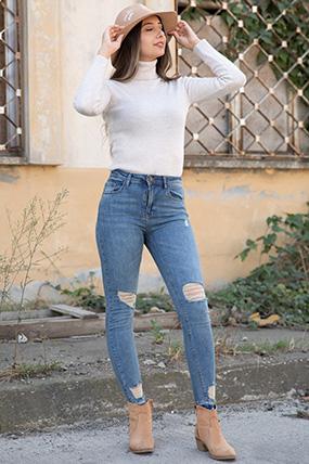 Dızı Pacaları Lazerlı Kot Pantolon-P-015402