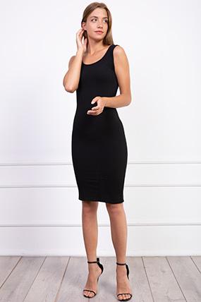 Askılı Kaskorse Yırtmaclı Elbise-P-017593