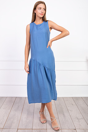 Sıfır Kol Yanı Yırtmaclı Elbise-P-017631