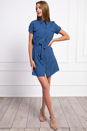 Gömlek Yaka Dügmeli Kusaklı Elbise-P-017939