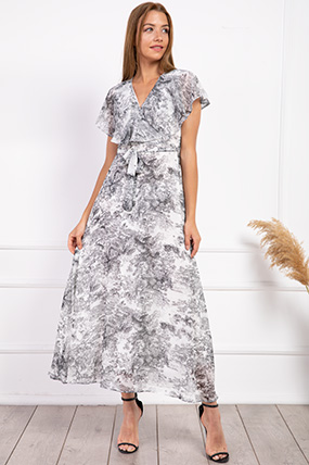 Kruvaze Yaka Kusaklı Desenli Sifon Elbise-P-017963