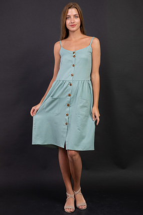 Ip Askılı Dügmeli Torba Cepli Elbise-P-017994