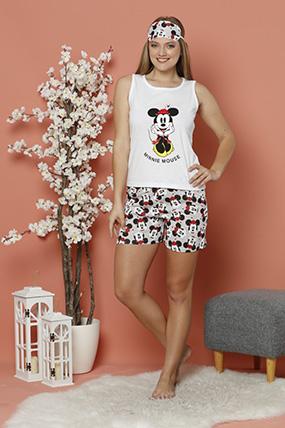 Cicekli Mickey Baskılı Sortlu Pijama Takımı-P-017999
