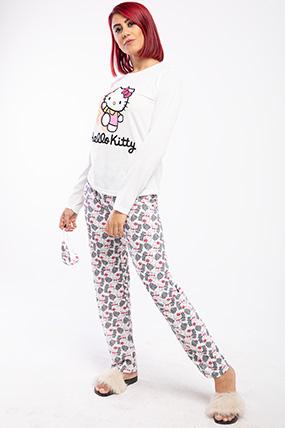 Hello Kity Baskılı Uzun Kol Pijama Takımı-P-018047