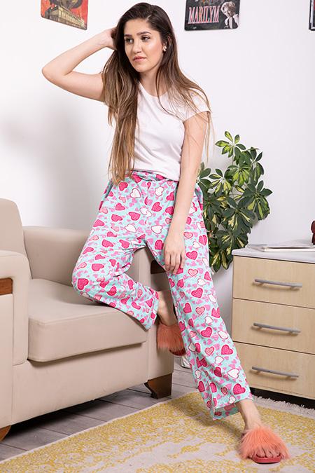 Bel Lastikli Kalp Desenli Battal Pijama Altı-P-017046