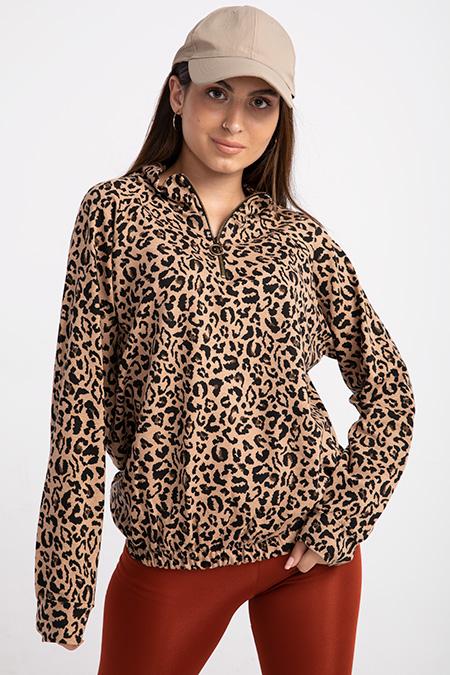 yaka fermuarlı leopar sweat-P-015238