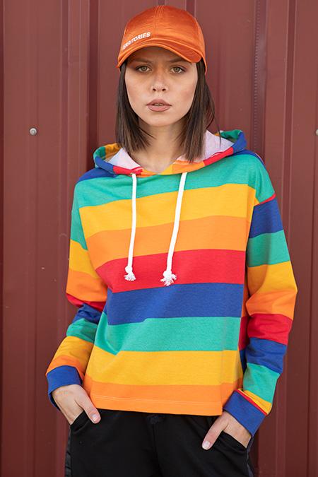 Kapsonlu Parcalı Renklı Kısa Sweat-P-015902