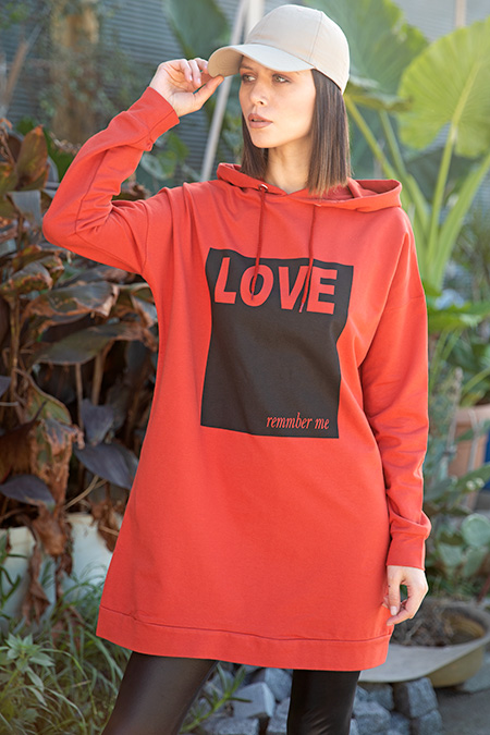 Kapsonlu Love Baskılı Sweat-P-015907