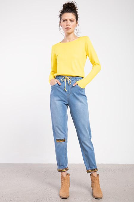 Bel Lastıklı Paca Detay Boyfrıend Kot Pantolon-P-015943