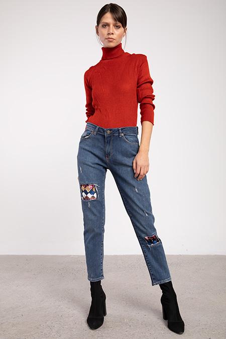 Lazerlı Pullu Boyfrıend Kot Pantolon-P-015952