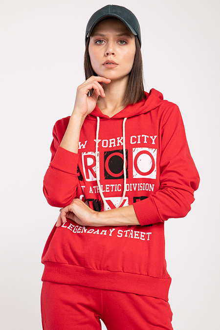 Kapsonlu Brooklyn Baskılı Sweat-P-015960