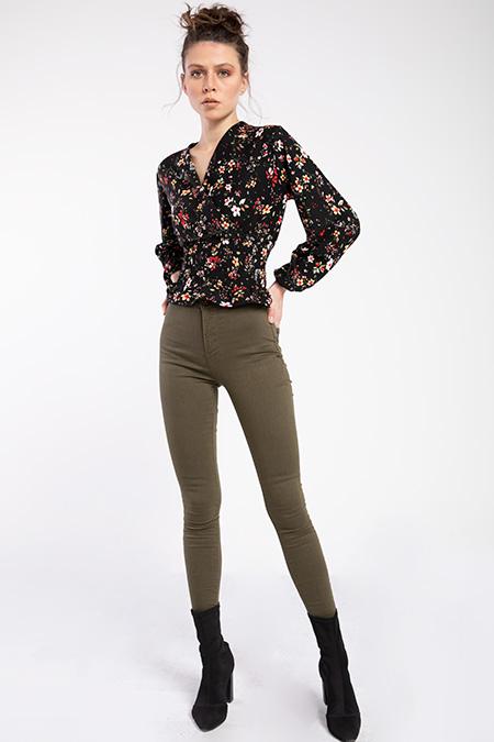 Yuksek Bel Cepsız Gabardın Pantolon-P-016022