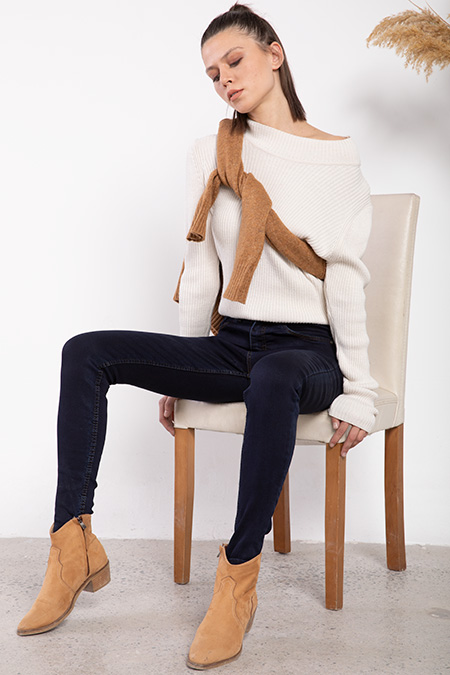 Yuksek Bel Ada Ceplı Kot Pantolon-P-016243