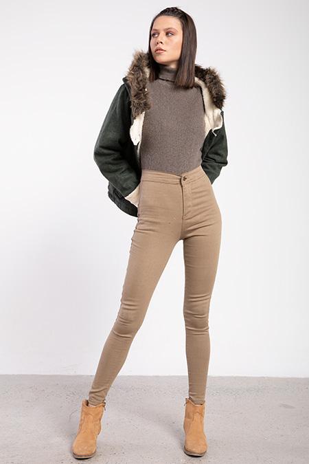 Cepsız Yuksek Bel Keten Pantolon-P-016284