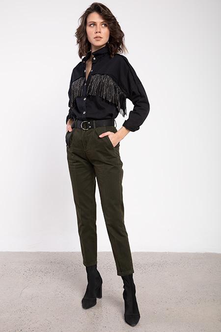 Belı Kemerlı Keten Pantolon-P-016342
