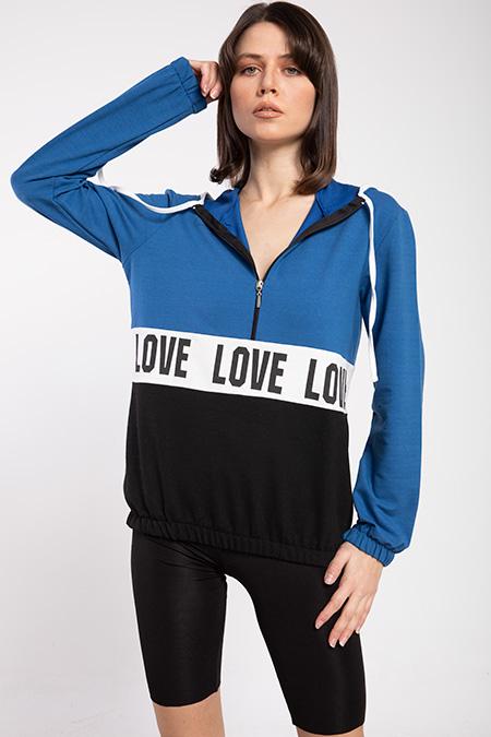 Love Baskılı Cıft Renklı Sweat-P-016353