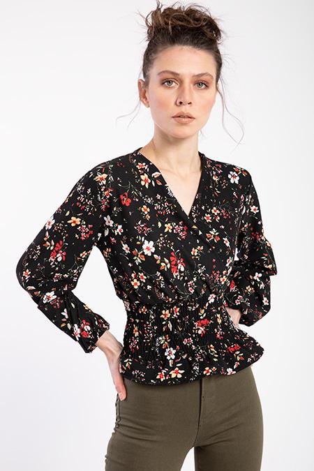 Kruveze Yaka Desenlı Bluz-P-016382