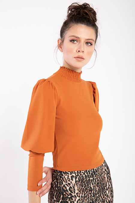 Yaka Buzgulu Kol Detay Bluz-P-016423