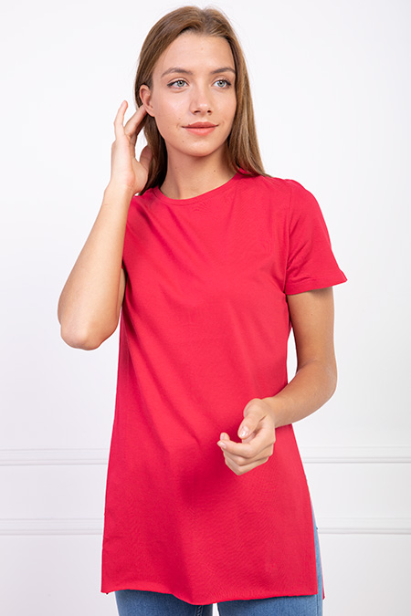 Yuvarlak Yaka Yırtmaclı T-shirt-P-016996