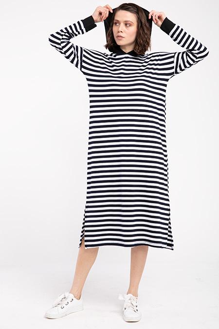Kapsonlu Kalın Cizgili Penye Elbise-P-017287
