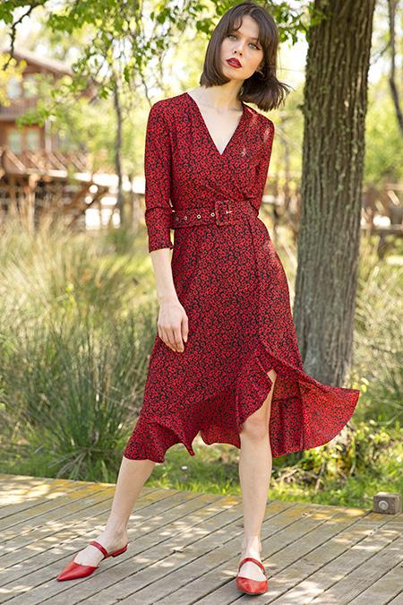 Kruvaze Yaka Bel Kemerli Desenli Elbise-P-017315
