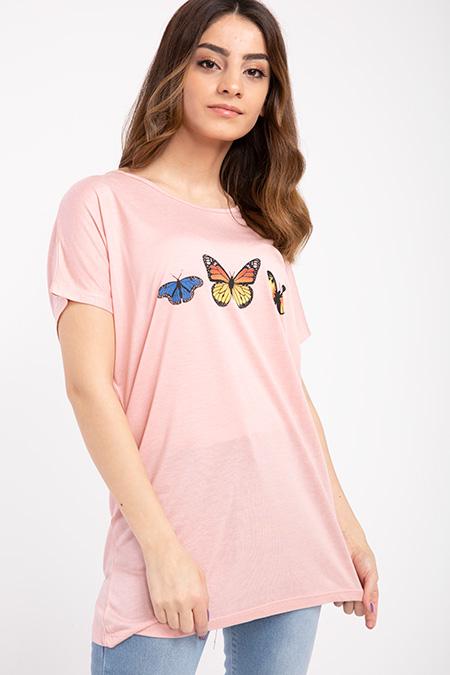 Kelebek Baskılı T-shirt-P-017410