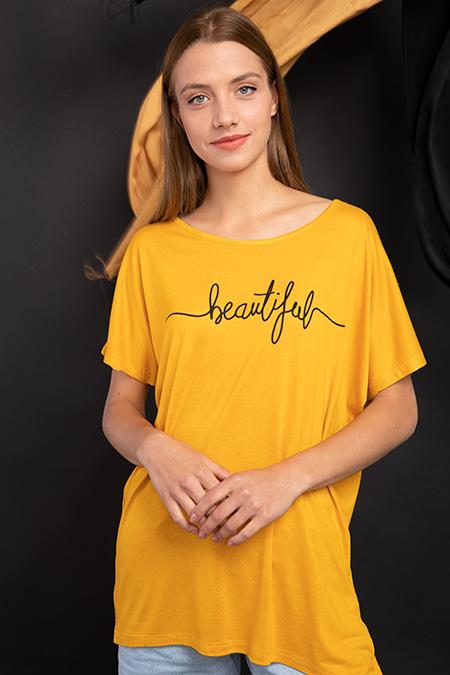 Beautiful Baskılı T-shirt-P-017411