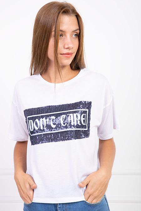 Dont Care Pul Payetli T-shirt-P-017543