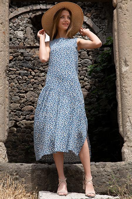 Sıfır Kol Desenli Elbise-P-017632
