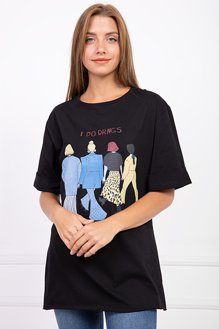 I Do Drngs Baskılı Salas T-shirt-P-017795