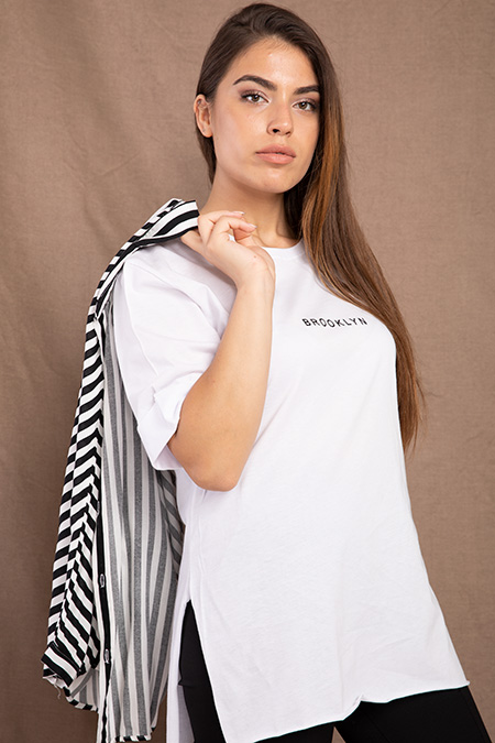 Brooklyn Baskılı Salas T-shirt-P-017796