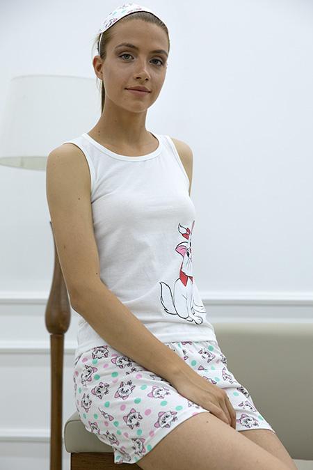 Kedi Baskılı Sortlu Pijama Takımı-P-017829