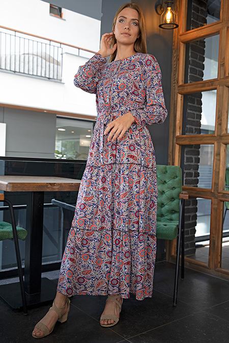 Yaka Dügmeli Desenli Bel Lastikli Elbise-P-017847