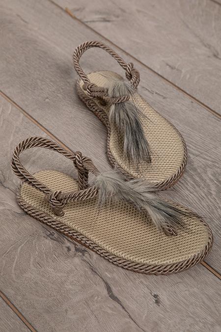 Hasır Ipli Tüylü Sandalet-P-017865