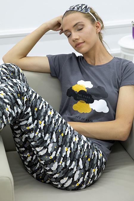 Bulut Baskılı Pijama Takımı-P-017871