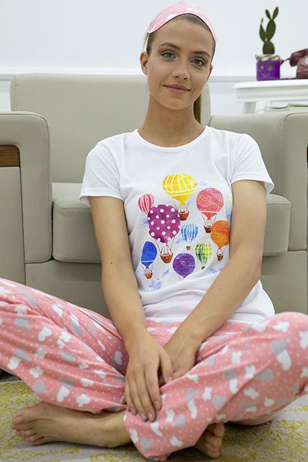 Zeplin Baskılı Pijama Takımı-P-017872