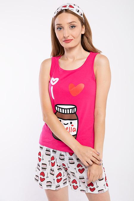 Nutella Baskılı Sortlu Pijama Takımı-P-017878