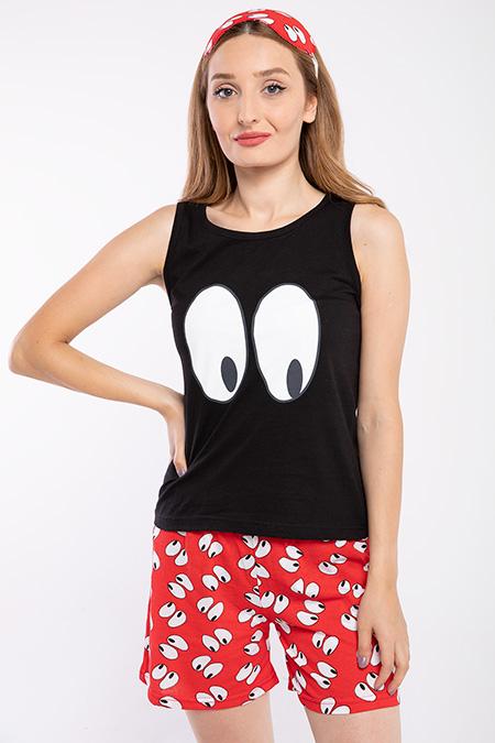 Göz Baskılı Sortlu Pijama Takımı-P-017879