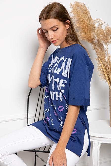 Yazı Baskılı Yanları Yırtmaclı T-shirt-P-017883