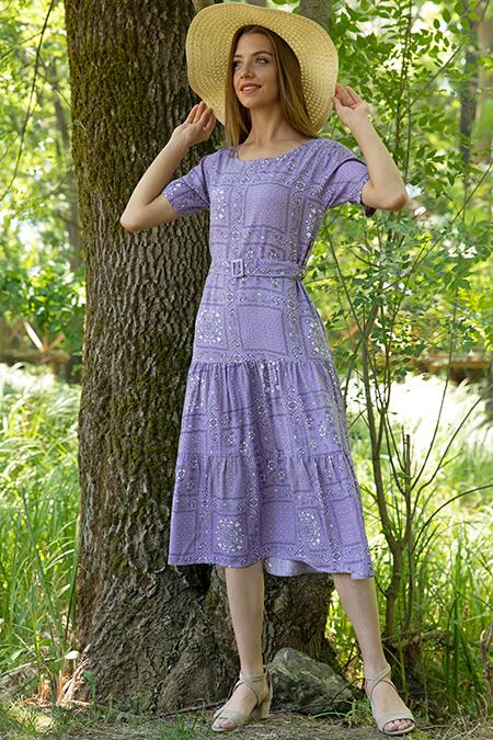 Cicek Desenli Tokalı Dokuma Elbise-P-017915