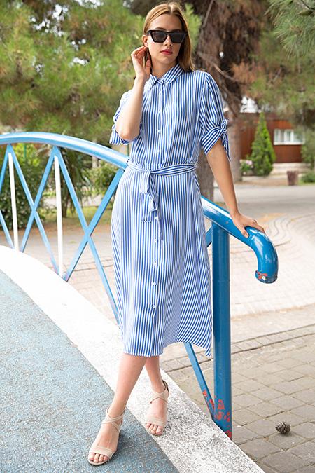 Gömlek Yaka Cizgili Kusaklı Elbise-P-017929