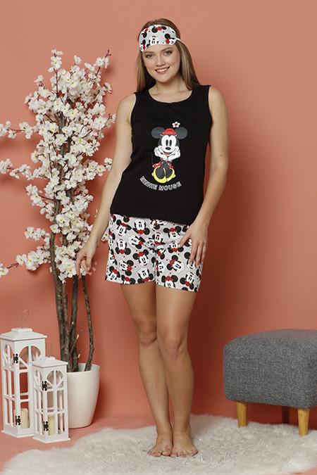 Cicekli Mickey Baskılı Sortlu Pijama Takımı_KIRMIZI