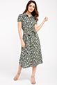 Gomlek Yaka Cicek Desenli Elbise / HAKI