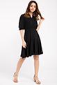 Kruvaze Yaka Kaskorse Elbise / SIYAH