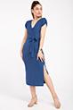 Kruvaze Yaka Yırtmaclı Kaskorse Elbise / INDIGO