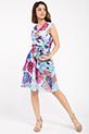 Cicek Desenli Kruvaze Yaka Sifon Elbise / BEBEMAVI