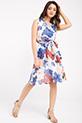 Cicek Desenli Kruvaze Yaka Sifon Elbise / BEYAZ