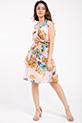 Cicek Desenli Kruvaze Yaka Sifon Elbise / PUDRA