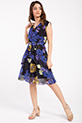 Cicek Desenli Kruvaze Yaka Sifon Elbise / SIYAH